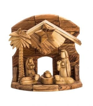 Hand Carved Bethlehem Olive Wood Nativity Set – Faceless