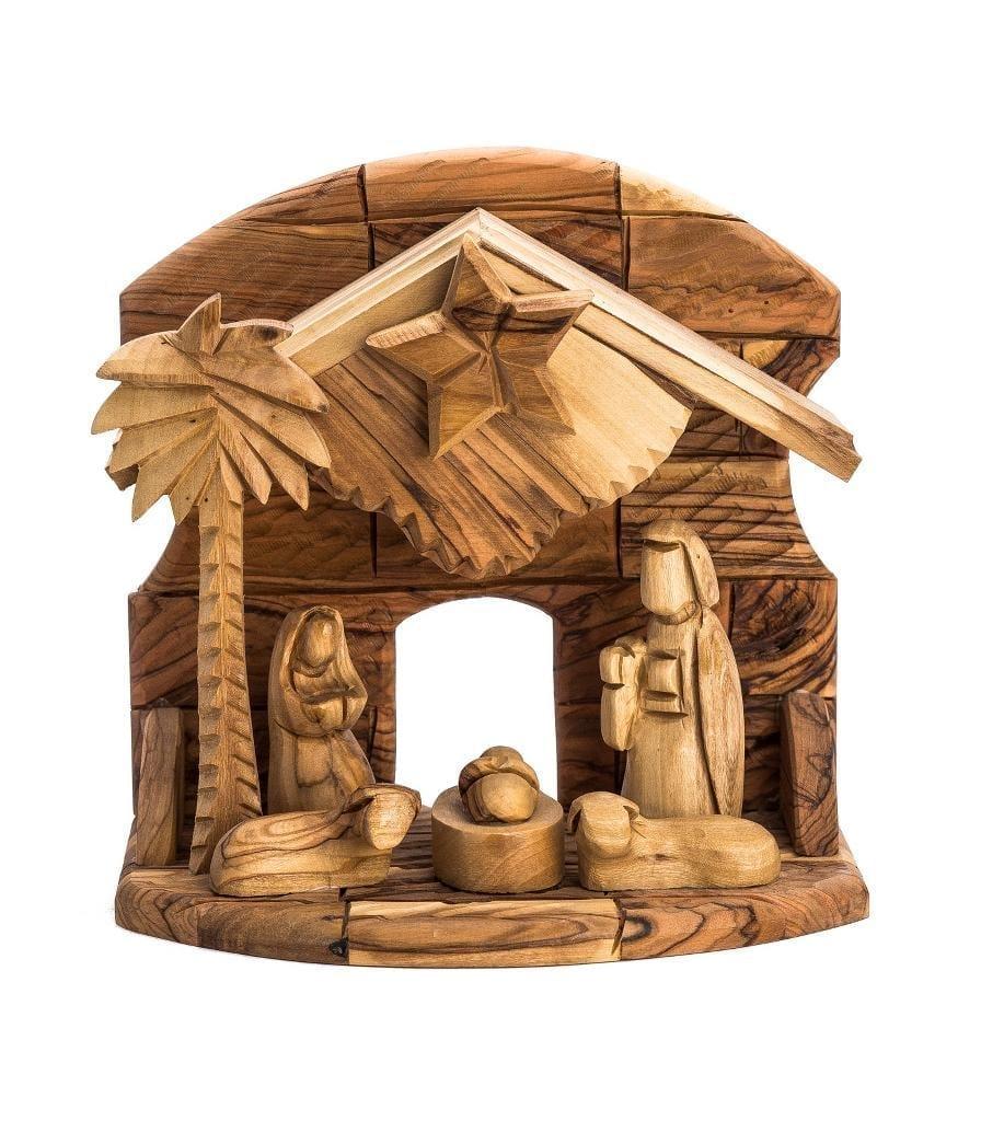 Hand Carved Bethlehem Olive Wood Nativity Set – Faceless